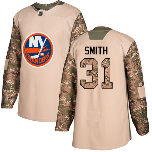 Adidas Men's Billy Smith Authentic Camo Jersey: NHL #31 New York Islanders Veterans Day Practice