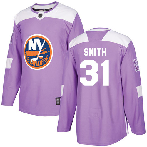 Adidas Men's Billy Smith Authentic Purple Jersey: NHL #31 New York Islanders Fights Cancer Practice