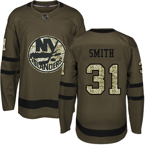 Adidas Youth Billy Smith Premier Green Jersey: NHL #31 New York Islanders Salute to Service