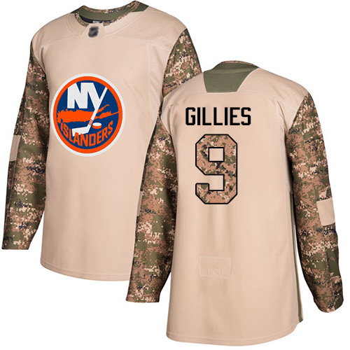 Adidas Youth Clark Gillies Authentic Camo Jersey: NHL #9 New York Islanders Veterans Day Practice