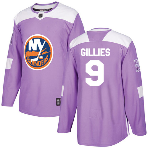 Adidas Men's Clark Gillies Authentic Purple Jersey: NHL #9 New York Islanders Fights Cancer Practice