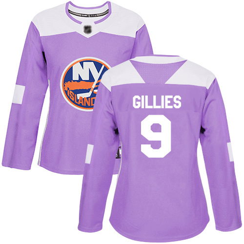 Adidas Women's Clark Gillies Authentic Purple Jersey: NHL #9 New York Islanders Fights Cancer Practice