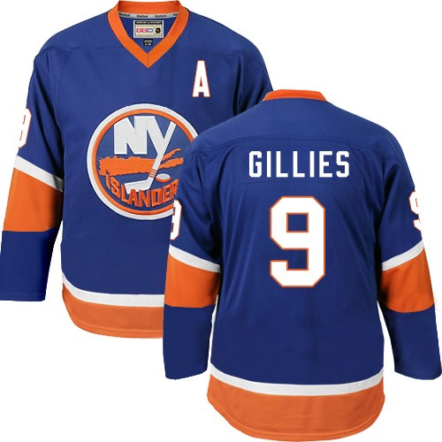 CCM Men's Clark Gillies Authentic Royal Blue Jersey: NHL #9 New York Islanders Throwback