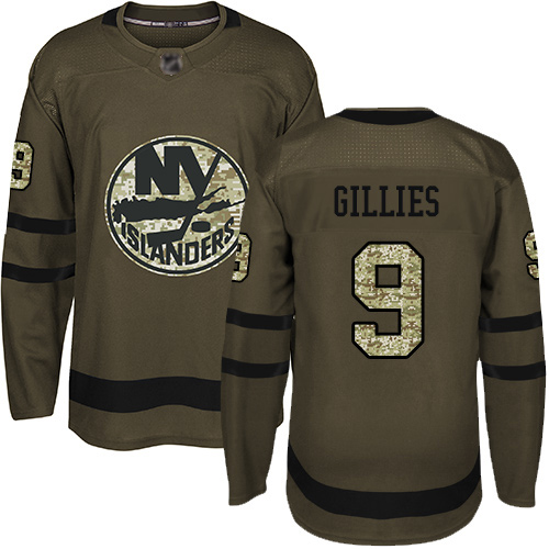 Adidas Men's Clark Gillies Authentic Green Jersey: NHL #9 New York Islanders Salute to Service