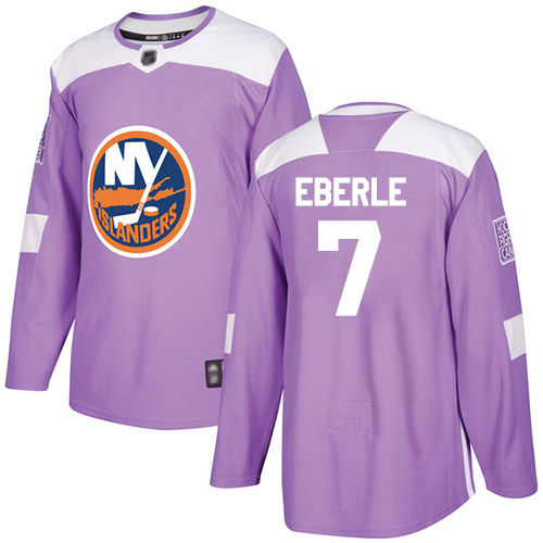 Adidas Men's Jordan Eberle Authentic Purple Jersey: NHL #7 New York Islanders Fights Cancer Practice