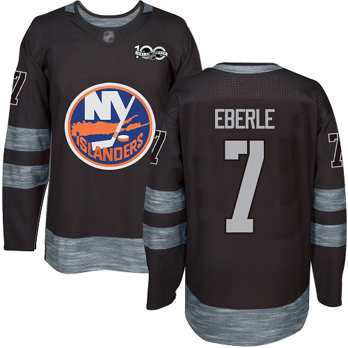 Adidas Men's Jordan Eberle Authentic Black Jersey: NHL #7 New York Islanders 1917-2017 100th Anniversary