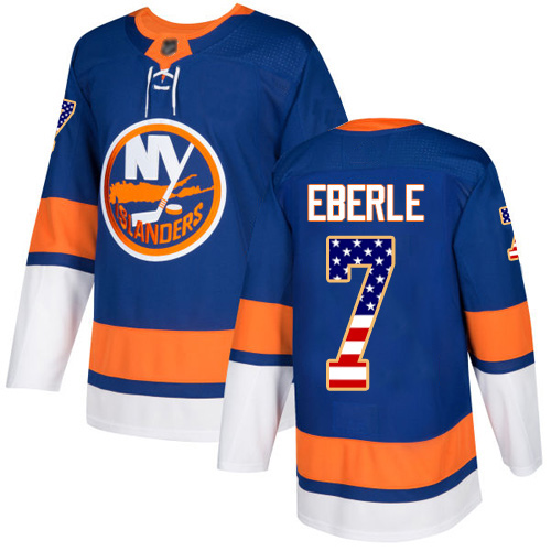 Adidas Youth Jordan Eberle Authentic Royal Blue Jersey: NHL #7 New York Islanders USA Flag Fashion