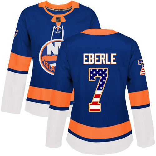 Adidas Women's Jordan Eberle Authentic Royal Blue Jersey: NHL #7 New York Islanders USA Flag Fashion