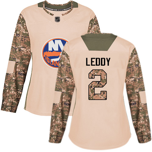 Adidas Women's Nick Leddy Authentic Camo Jersey: NHL #2 New York Islanders Veterans Day Practice