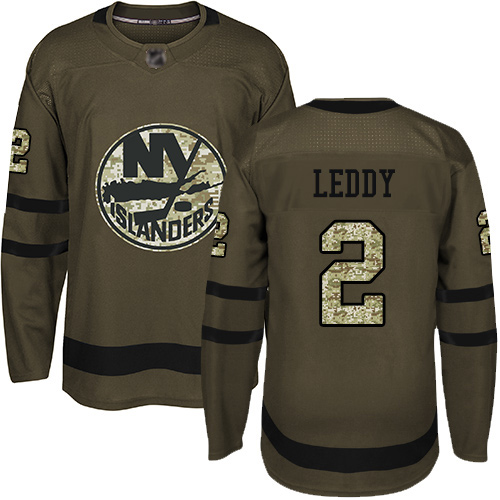 Adidas Men's Nick Leddy Authentic Green Jersey: NHL #2 New York Islanders Salute to Service