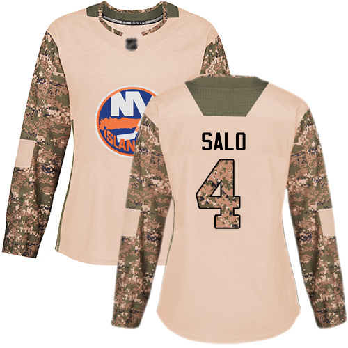 Adidas Women's Robin Salo Authentic Camo Jersey: NHL #4 New York Islanders Veterans Day Practice