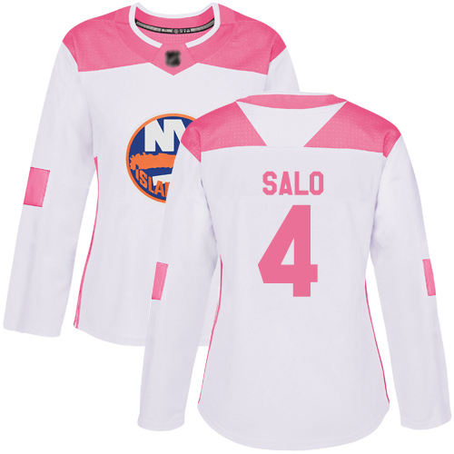 Adidas Women's Robin Salo Authentic White/Pink Jersey: NHL #4 New York Islanders Fashion
