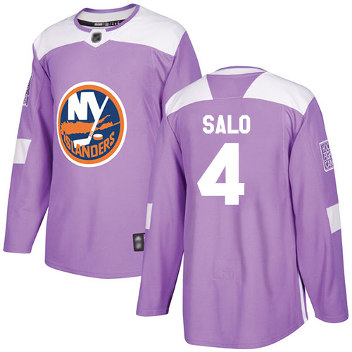 Adidas Men's Robin Salo Authentic Purple Jersey: NHL #4 New York Islanders Fights Cancer Practice