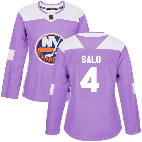 Adidas Women's Robin Salo Authentic Purple Jersey: NHL #4 New York Islanders Fights Cancer Practice