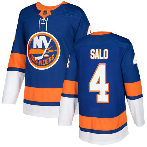 Adidas Men's Robin Salo Authentic Royal Blue Home Jersey: NHL #4 New York Islanders