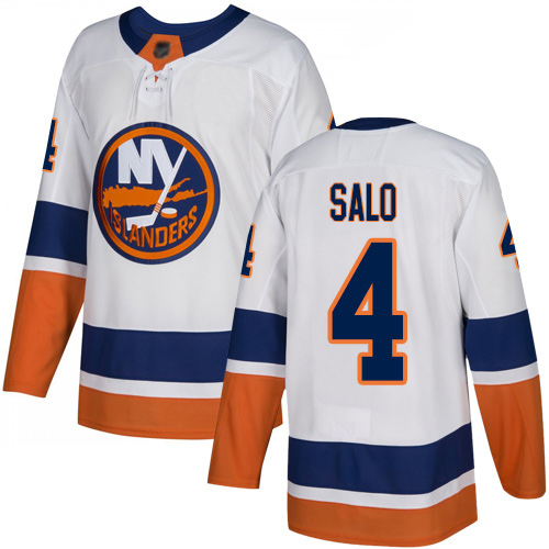 Reebok Youth Robin Salo Authentic White Away Jersey: NHL #4 New York Islanders