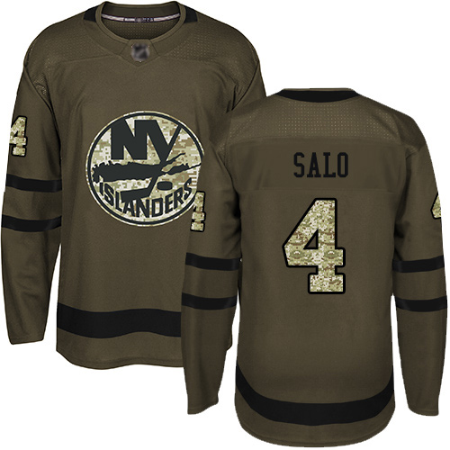 Adidas Youth Robin Salo Premier Green Jersey: NHL #4 New York Islanders Salute to Service