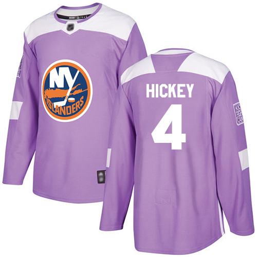 Adidas Men's Thomas Hickey Authentic Purple Jersey: NHL #4 New York Islanders Fights Cancer Practice