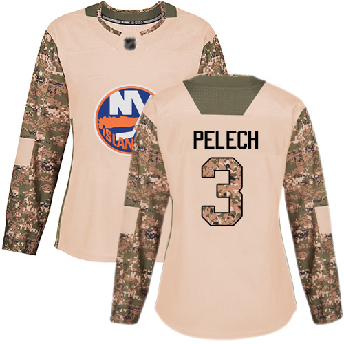 Women's Adam Pelech Authentic Camo Jersey: Hockey #3 New York Islanders Veterans Day Practice
