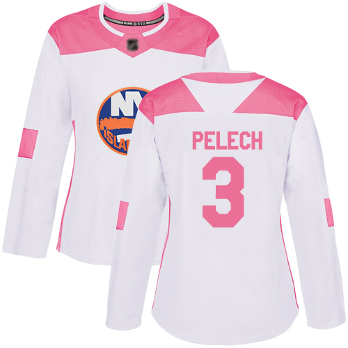 Women's Adam Pelech Authentic White/Pink Jersey: Hockey #3 New York Islanders Fashion