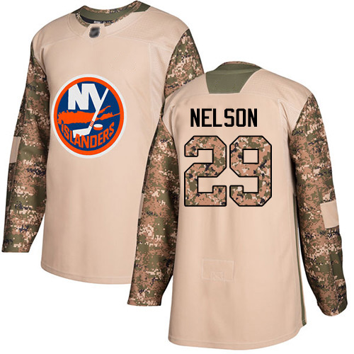 Adidas Youth Brock Nelson Authentic Camo Jersey: NHL #29 New York Islanders Veterans Day Practice
