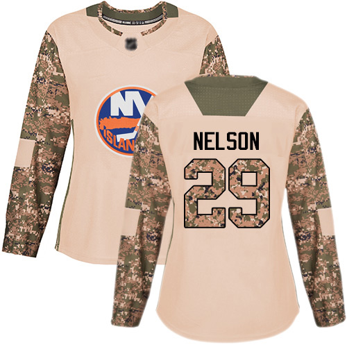 Adidas Women's Brock Nelson Authentic Camo Jersey: NHL #29 New York Islanders Veterans Day Practice