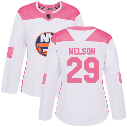 Adidas Women's Brock Nelson Authentic White/Pink Jersey: NHL #29 New York Islanders Fashion