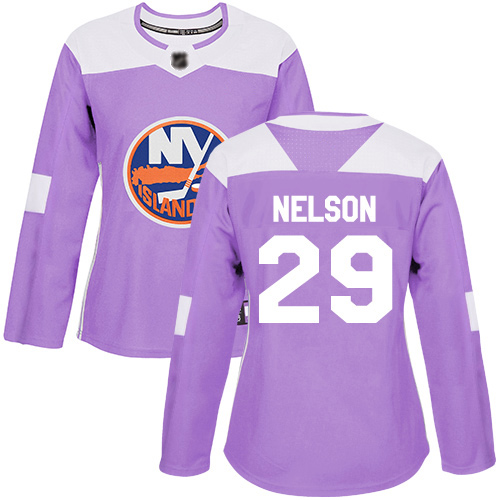 Adidas Women's Brock Nelson Authentic Purple Jersey: NHL #29 New York Islanders Fights Cancer Practice