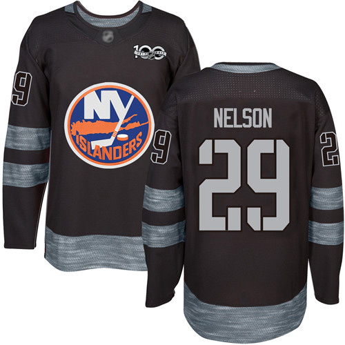 Adidas Men's Brock Nelson Authentic Black Jersey: NHL #29 New York Islanders 1917-2017 100th Anniversary