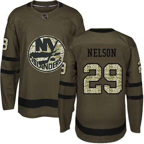 Adidas Youth Brock Nelson Authentic Green Jersey: NHL #29 New York Islanders Salute to Service