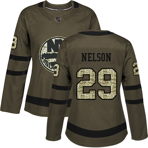 Adidas Women's Brock Nelson Authentic Green Jersey: NHL #29 New York Islanders Salute to Service