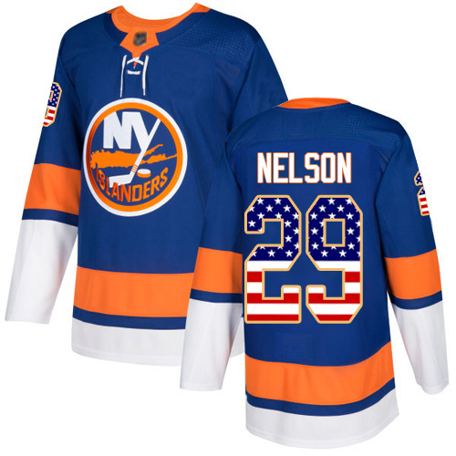 Adidas Men's Brock Nelson Authentic Royal Blue Jersey: NHL #29 New York Islanders USA Flag Fashion