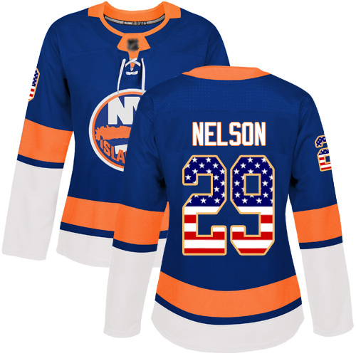 Adidas Women's Brock Nelson Authentic Royal Blue Jersey: NHL #29 New York Islanders USA Flag Fashion