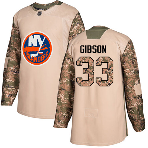Youth Christopher Gibson Authentic Camo Jersey: Hockey #33 New York Islanders Veterans Day Practice