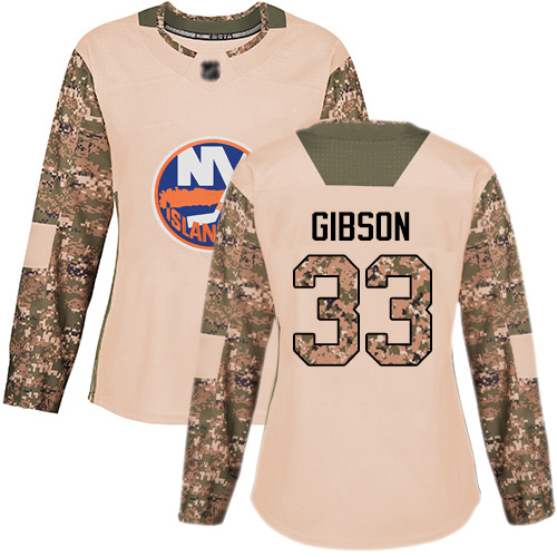 Women's Christopher Gibson Authentic Camo Jersey: Hockey #33 New York Islanders Veterans Day Practice