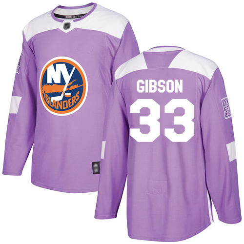 Men's Christopher Gibson Authentic Purple Jersey: Hockey #33 New York Islanders Fights Cancer Practice