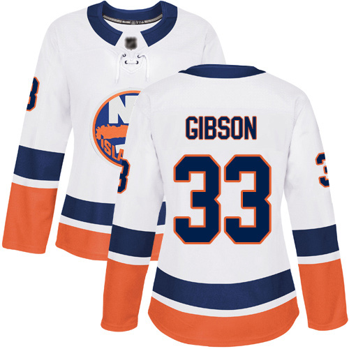 Women's Christopher Gibson Authentic White Away Jersey: Hockey #33 New York Islanders