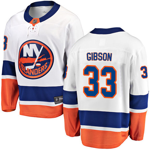 Fanatics Branded Youth Christopher Gibson Breakaway White Away Jersey: Hockey #33 New York Islanders