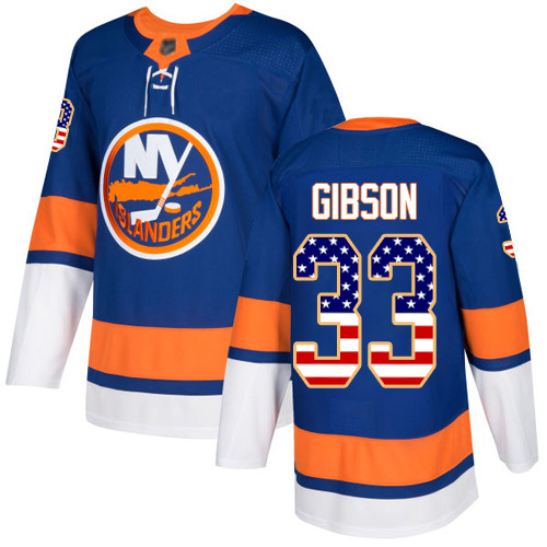 Youth Christopher Gibson Authentic Royal Blue Jersey: Hockey #33 New York Islanders USA Flag Fashion