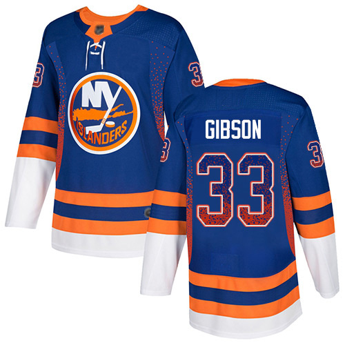 Men's Christopher Gibson Authentic Royal Blue Jersey: Hockey #33 New York Islanders Drift Fashion