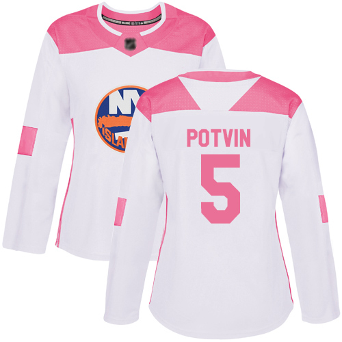 Adidas Women's Denis Potvin Authentic White/Pink Jersey: NHL #5 New York Islanders Fashion