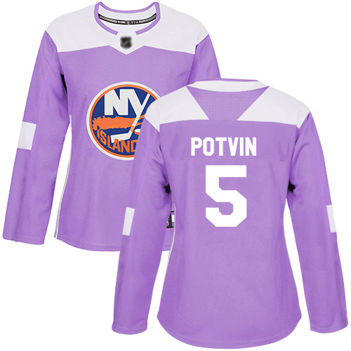 Adidas Women's Denis Potvin Authentic Purple Jersey: NHL #5 New York Islanders Fights Cancer Practice