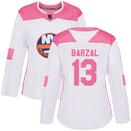 Adidas Women's Mathew Barzal Authentic White/Pink Jersey: NHL #13 New York Islanders Fashion