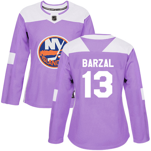 Adidas Women's Mathew Barzal Authentic Purple Jersey: NHL #13 New York Islanders Fights Cancer Practice