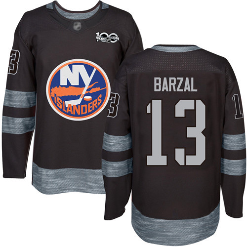 Adidas Men's Mathew Barzal Authentic Black Jersey: NHL #13 New York Islanders 1917-2017 100th Anniversary