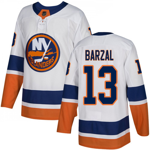 Reebok Youth Mathew Barzal Authentic White Away Jersey: NHL #13 New York Islanders