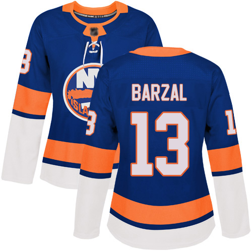 Adidas Women's Mathew Barzal Authentic Royal Blue Home Jersey: NHL #13 New York Islanders