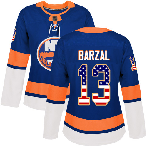 Adidas Women's Mathew Barzal Authentic Royal Blue Jersey: NHL #13 New York Islanders USA Flag Fashion