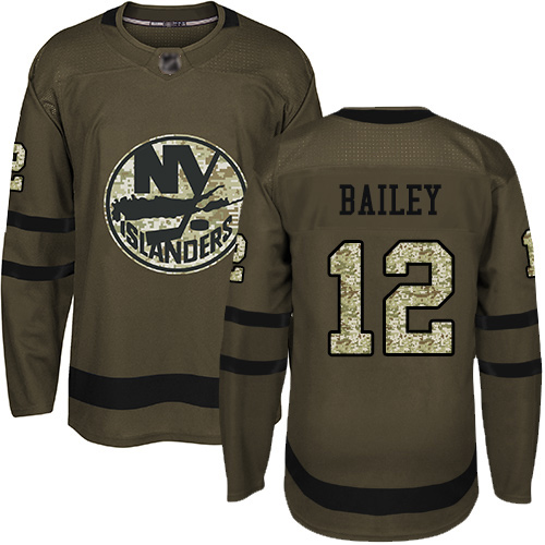 Men's Josh Bailey Authentic Green Jersey: Hockey #12 New York Islanders Salute to Service