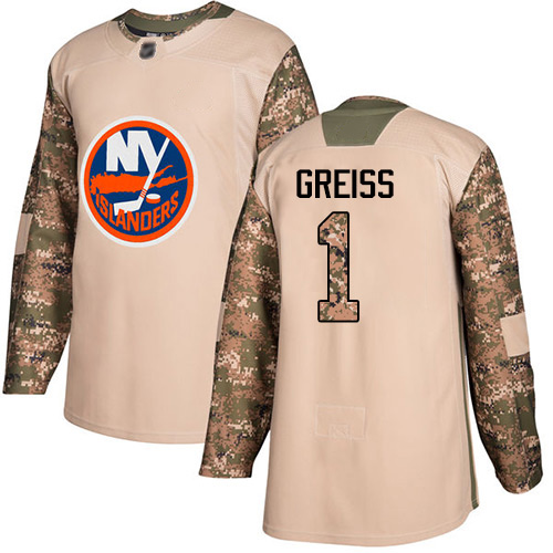 Adidas Youth Thomas Greiss Authentic Camo Jersey: NHL #1 New York Islanders Veterans Day Practice